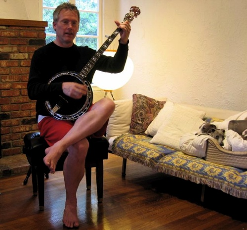 Roger Bourland playing the banjo