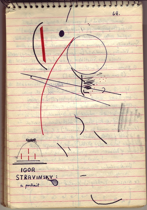 sketch of Stravinsky by Roger Bourland