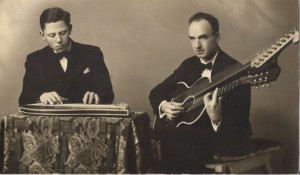 arthur schatz with zither, and a contra-guitar on the right